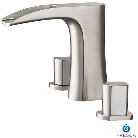 Image of Fresca Fortore Widespread Mount Bathroom Faucet - Brushed Nickel FFT3076BN