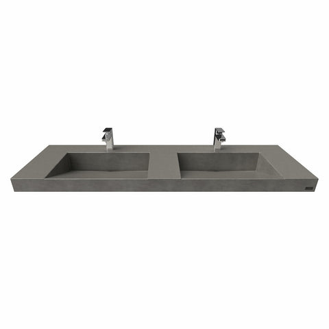 "Image of Trueform Concrete 60"" Contempo Floating Concrete Double Ramp Sink FLO-60V-DBL-CONTEMPO"