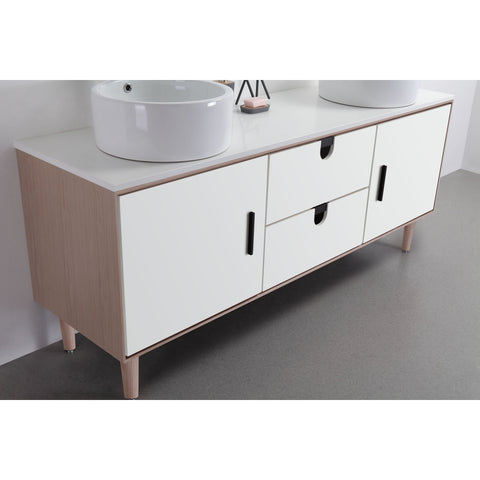 "Karton Republic Portree 72"" Walnut Mid-Century Freestanding Bathroom Vanity w/Sink VAPORWA72FD"