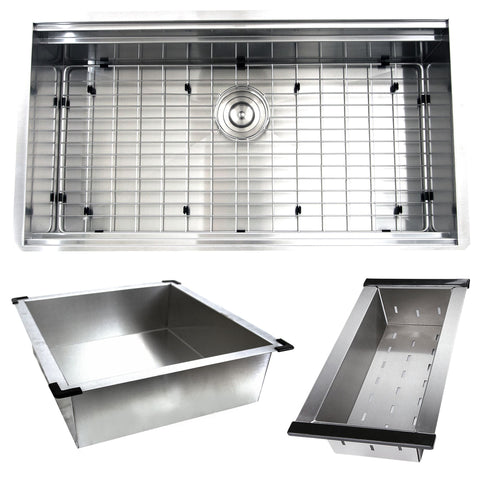Nantucket Sinks 32 Inch Pro Series Single Bowl Undermount Stainless Steel Kitchen Sink, With Included Rolling Mat, Grid, Colander, and Drain ZR-PS-3220-16