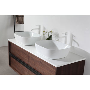 "Karton Republic Sintra 55"" Whitewash Oak Wall Mounted Modern Bathroom Vanity w/Sinks VASINWO55WM"