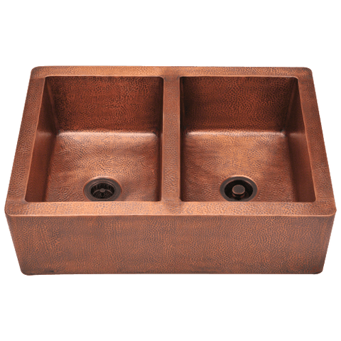 Image of Polaris Equal Double Bowl Copper Apron Sink P219