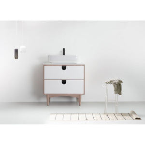 "Karton Republic Portree 30"" Walnut Mid-Century Freestanding Bathroom Vanity VAPORWA30FD"