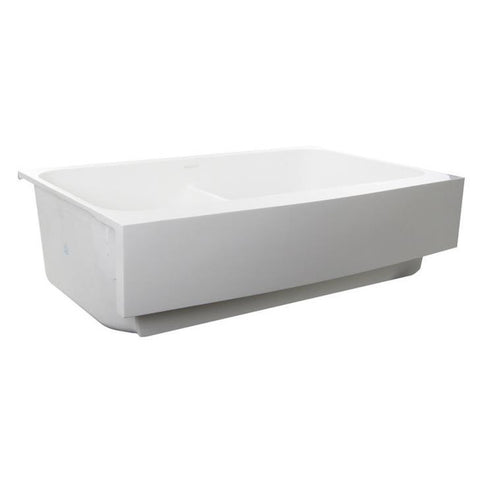 Image of Nantucket Retrofit Glacierstone Double Bowl EZApron Kitchen Sink, Grid and Drain Included White NS-GSEZA32D