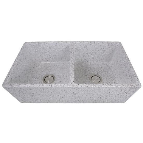 Nantucket Sinks Vineyard 33 Inch Double Bowl Farmhouse Fireclay Sink with Concrete Finish FCFS3318D-Concrete