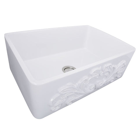 Nantucket Sinks 30-Inch Farmhouse Fireclay Sink with Filigree Apron FCFS3020S