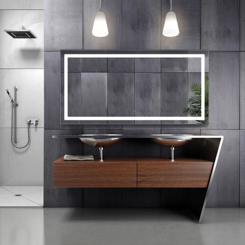 Krugg Icon 60″ X 30″ LED Bathroom Mirror w/ Dimmer & Defogger | Large Lighted Vanity Mirror Icon6030