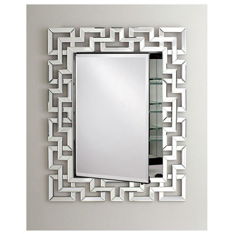 "Afina Radiance Venetian 36"" Recessed Greek Key Contemporary Framed Mirror Medicine Cabinet with Single Door SD-RAD-GK"