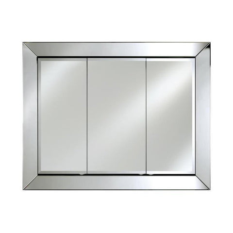"Image of Afina Radiance Venetian 34"" Recessed Large Contemporary Framed Mirror Medicine Cabinet with Triple Door TD-RAD-C-L"