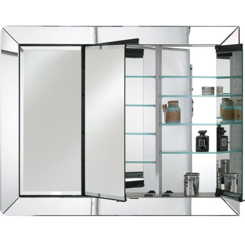 "Afina Radiance Venetian 34"" Recessed Large Contemporary Framed Mirror Medicine Cabinet with Triple Door TD-RAD-C-L"
