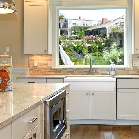 Image of Nantucket Sinks 36 Inch Italian Farmhouse Fireclay Sink with Built-In Drainboard FCFS36-DB