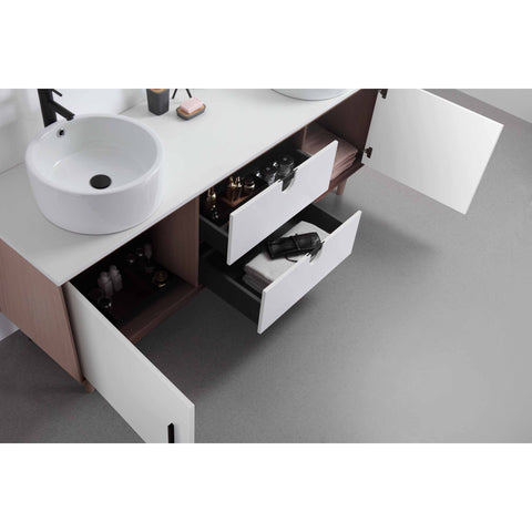 "Image of Karton Republic Portree 72"" Walnut Mid-Century Freestanding Bathroom Vanity w/Sink VAPORWA72FD"