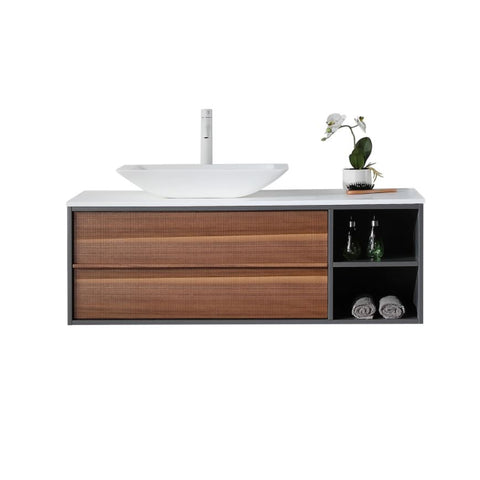 "Image of Karton Republic Goreme 48"" Walnut/White Oak Wall Mount Modern Bathroom Vanity w/ Sink VAGORWW48WM"