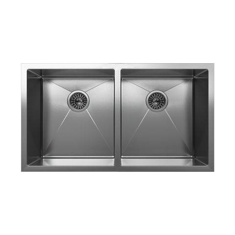 Image of Cantrio Koncepts Double Bowl Stainless Steel Undermount Kitchen Sink KSS-102