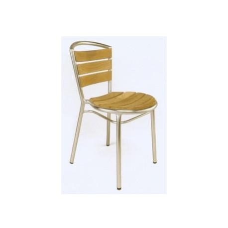 Chairs | Outdoor Aluminum & Teak Outdoor Dining Chair