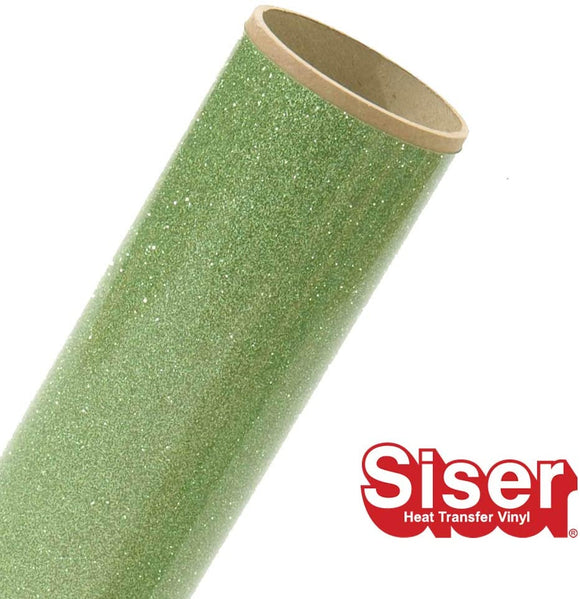 Siser Glitter HTV Roll - Iron on Heat Transfer Vinyl (Light Green)