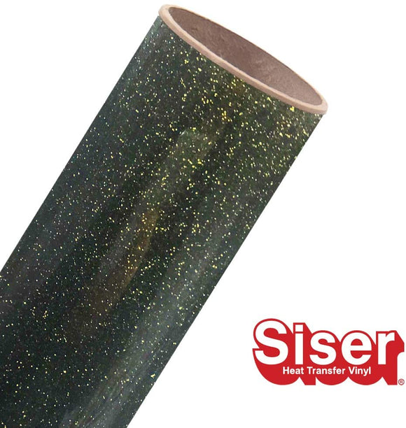 Siser Glitter HTV Roll - Iron on Heat Transfer Vinyl (Black Gold)
