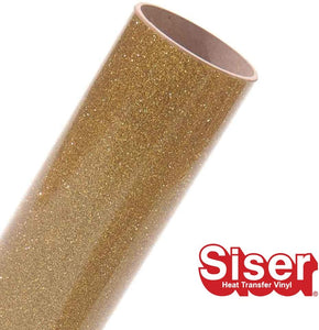 Siser Glitter HTV Roll - Iron on Heat Transfer Vinyl (Old Gold)