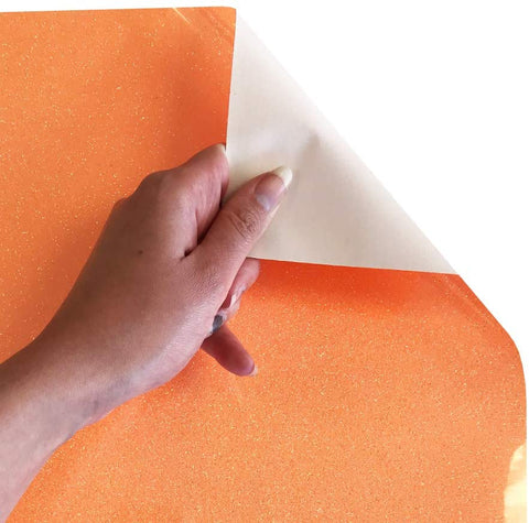 Siser Glitter HTV Roll - Iron on Heat Transfer Vinyl (Neon Orange)