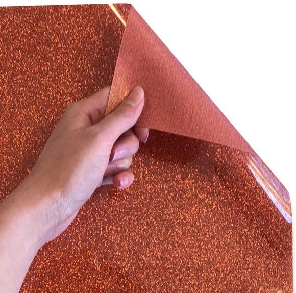 Siser Glitter Heat Transfer Vinyl Iron On HTV Precut Sheets (Copper)