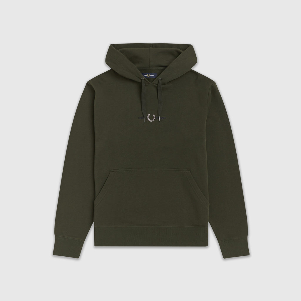 Fred Perry Embroidered Hooded Sweatshirt - Hunting Green Front