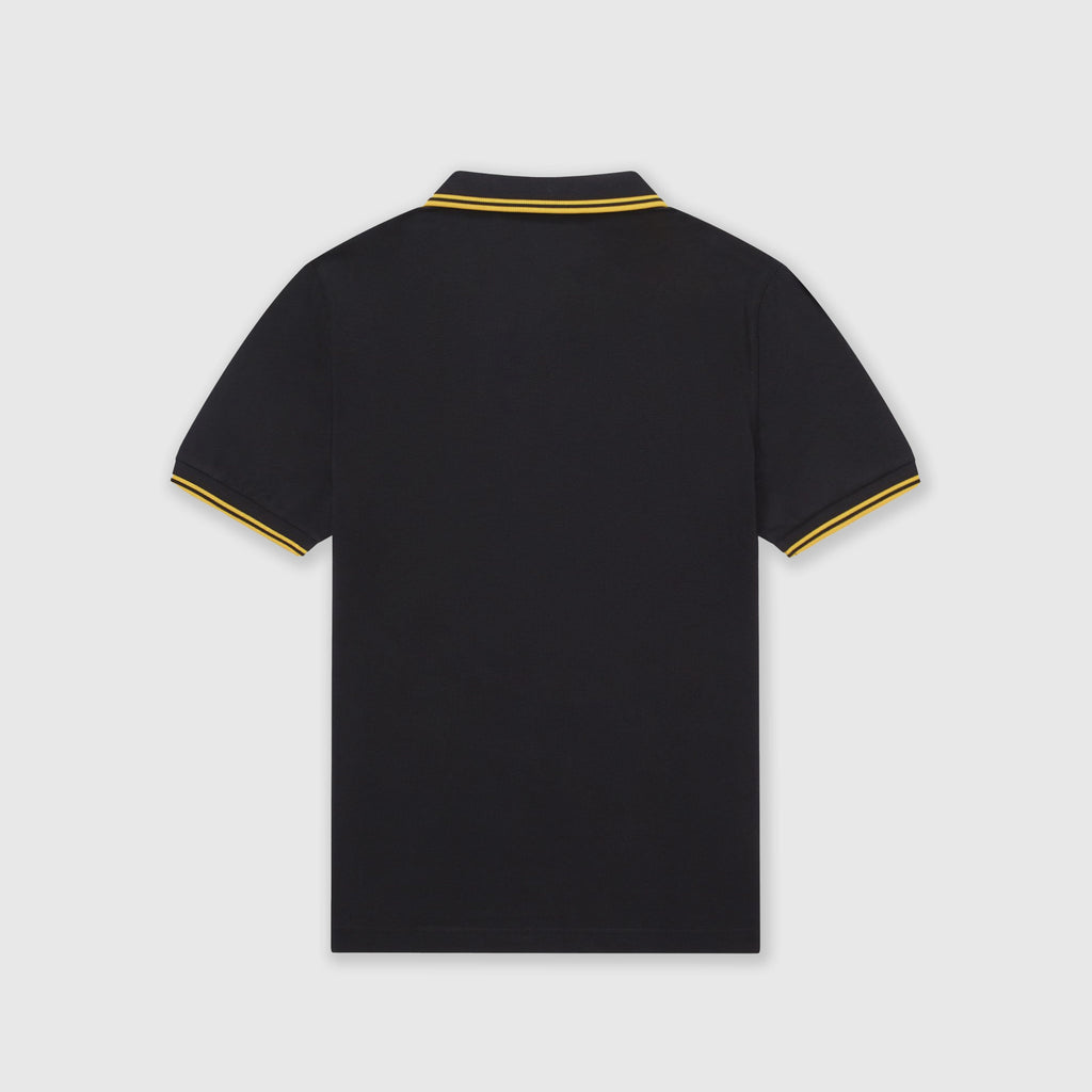 Fred Perry SS Twin Tipped Polo Shirt - Black / New Yellow Back