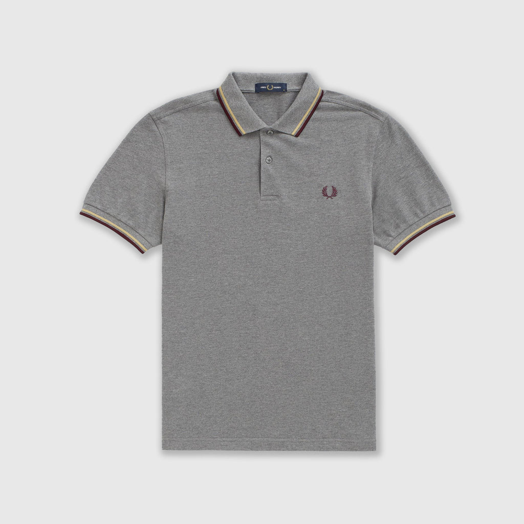 Fred Perry SS Twin Tipped Polo Shirt - Grey Marl Front