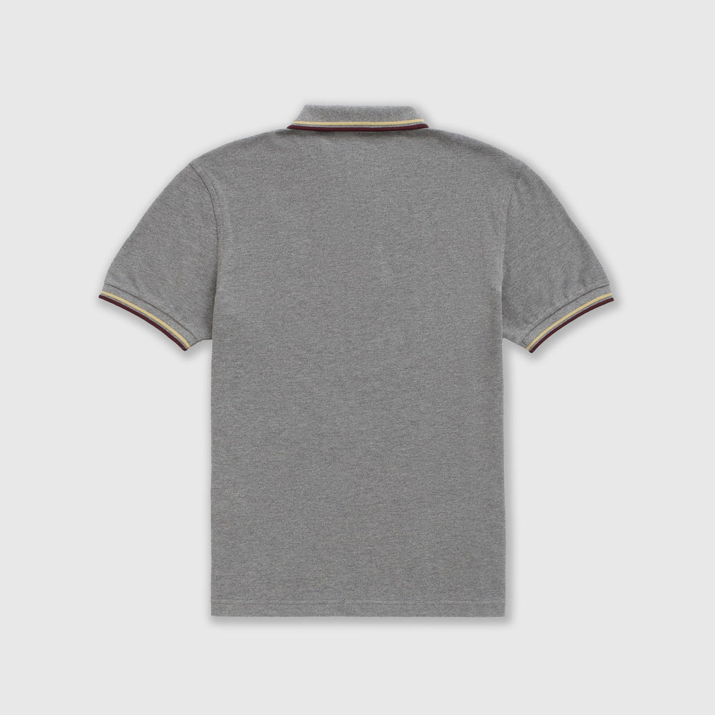 Fred Perry SS Twin Tipped Polo Shirt - Grey Marl Back