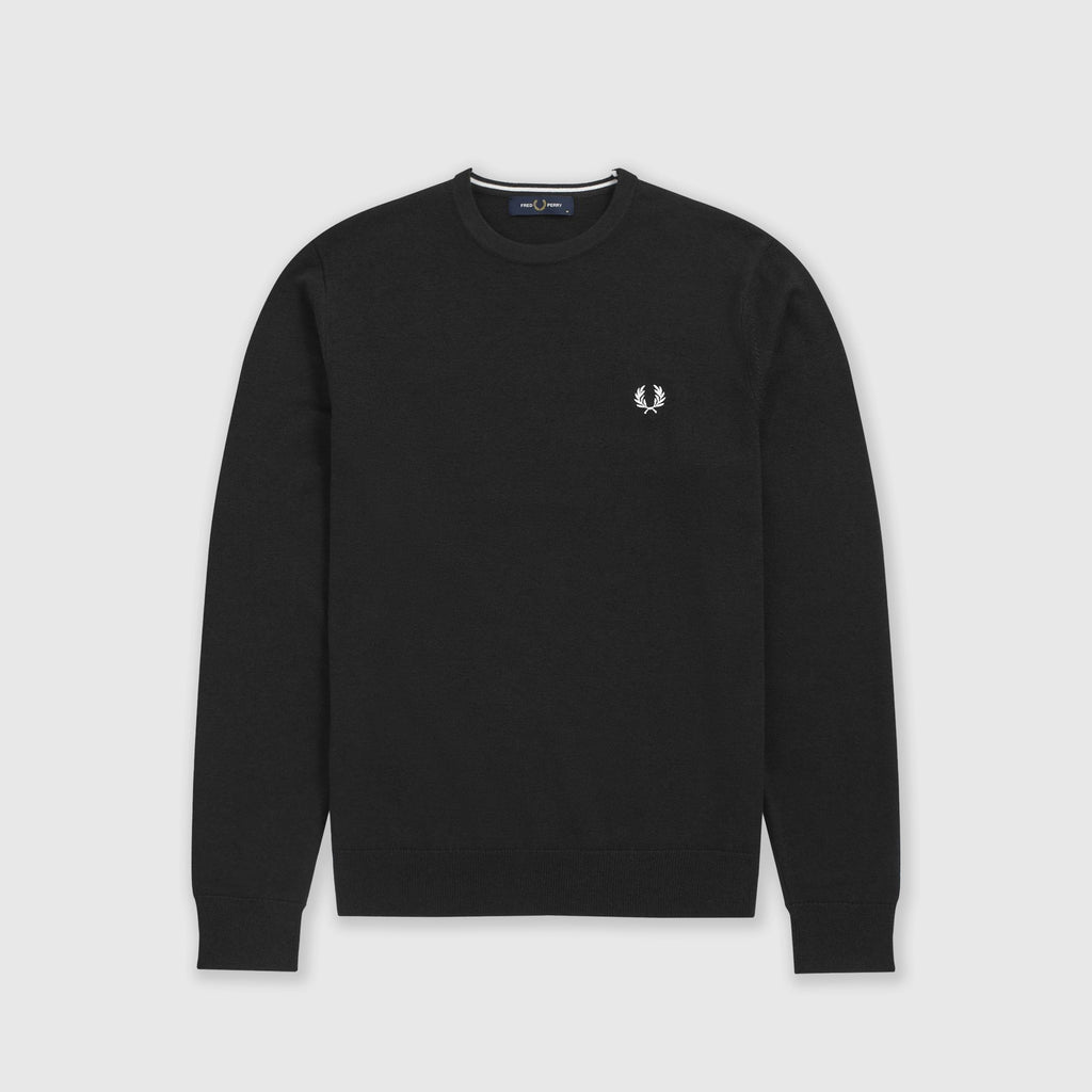 Fred Perry Classic Crew Neck Jumper - Black Front