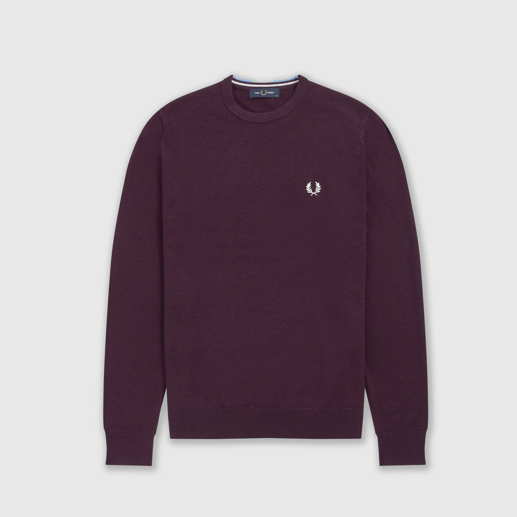 Fred Perry Classic Crew Neck Jumper - Rich Mahogany Front