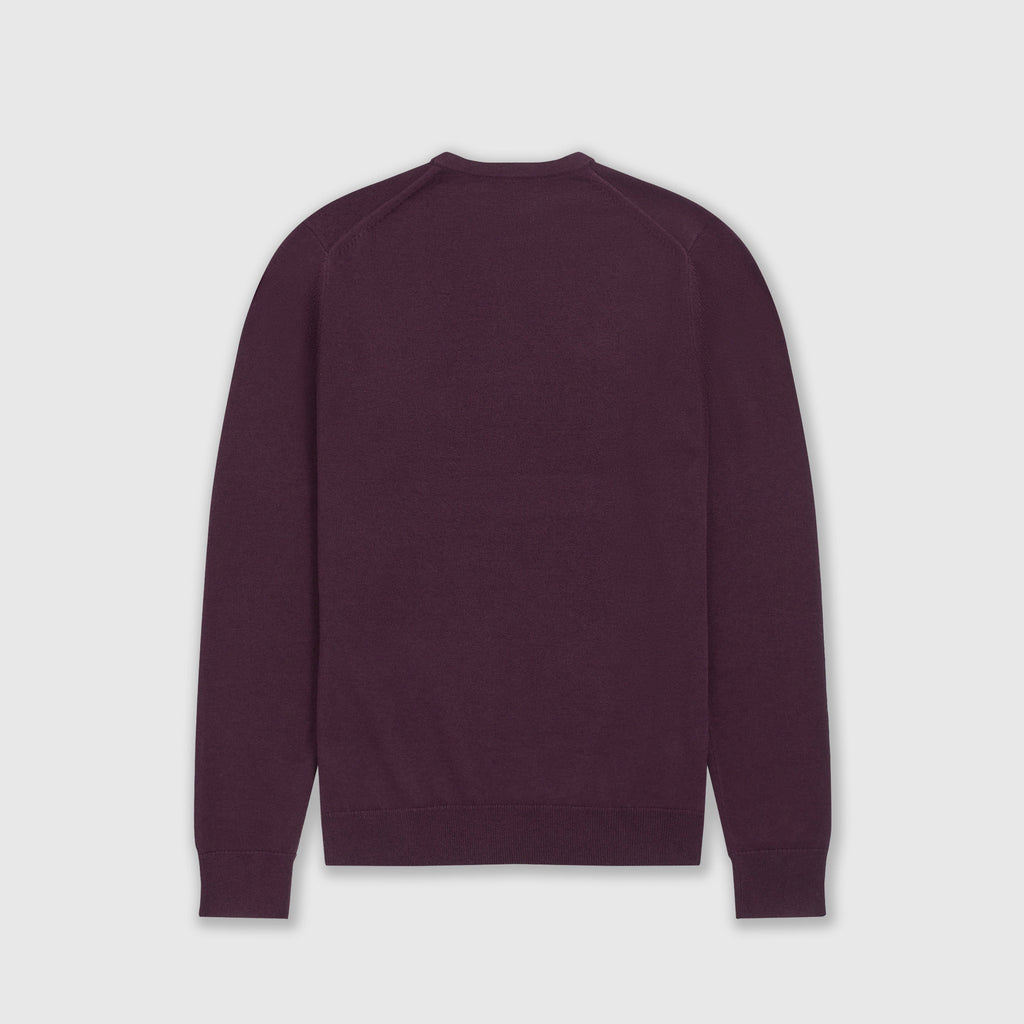 Fred Perry Classic Crew Neck Jumper - Rich Mahogany Back