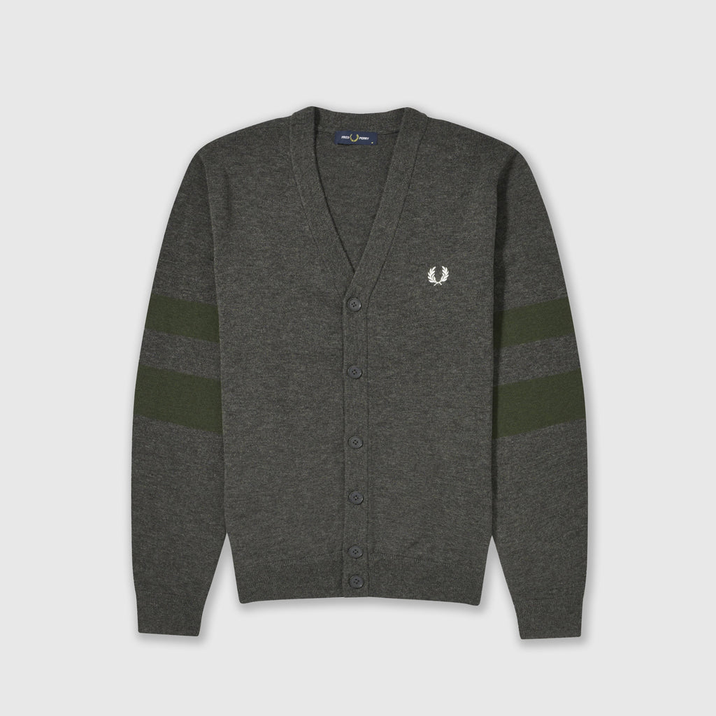 Fred Perry Tipped Sleeve Cardigan - Graphite Marl Front