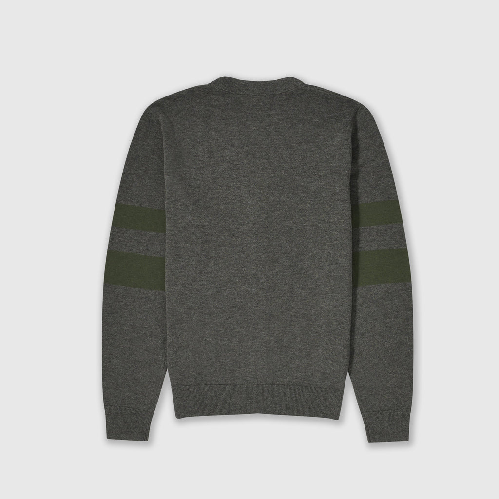 Fred Perry Tipped Sleeve Cardigan - Graphite Marl Back