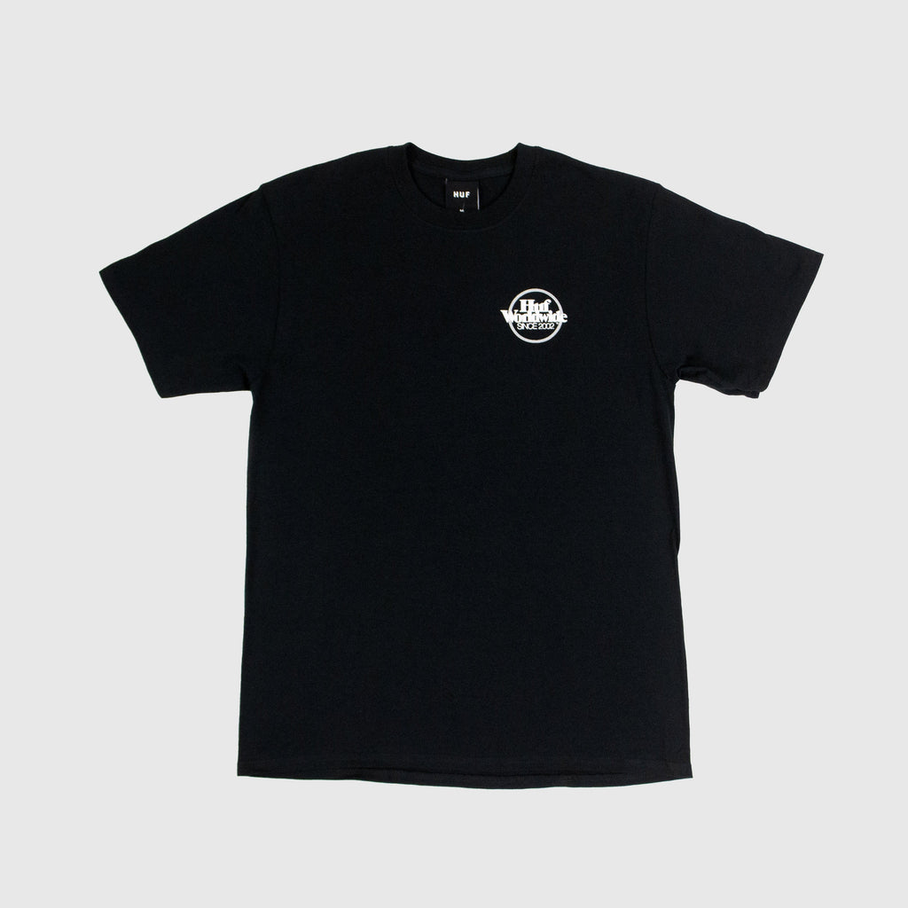 HUF SS Issues Logo Puff Tee - Black Front