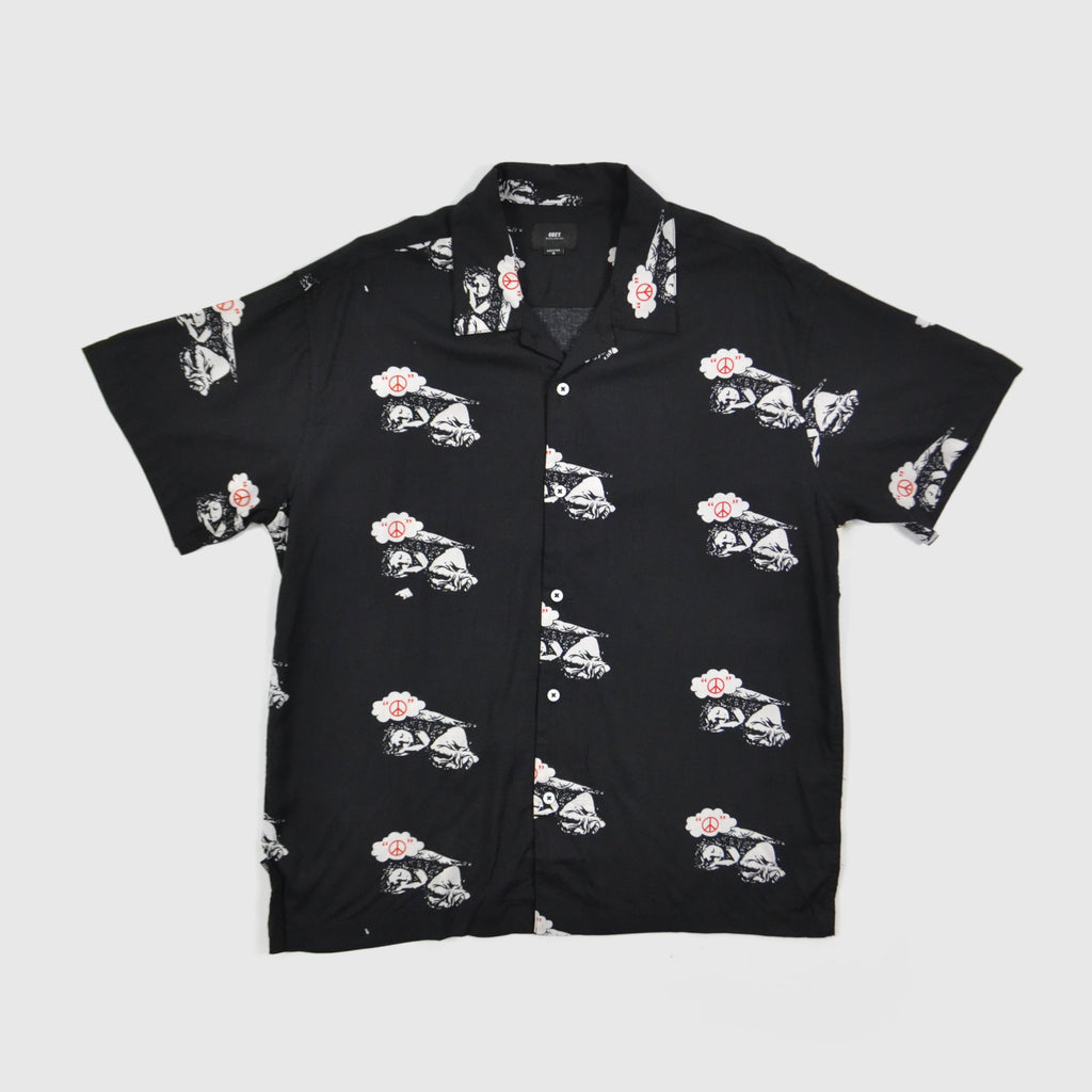 Obey Peace Angel Woven Shirt Black Front View