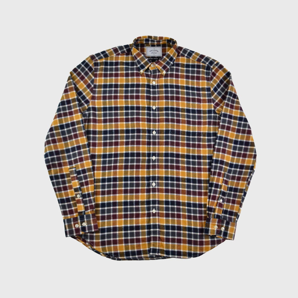 Portuguese Flannel Autumn Shades Shirt - Yellow / Merlot Check Front View