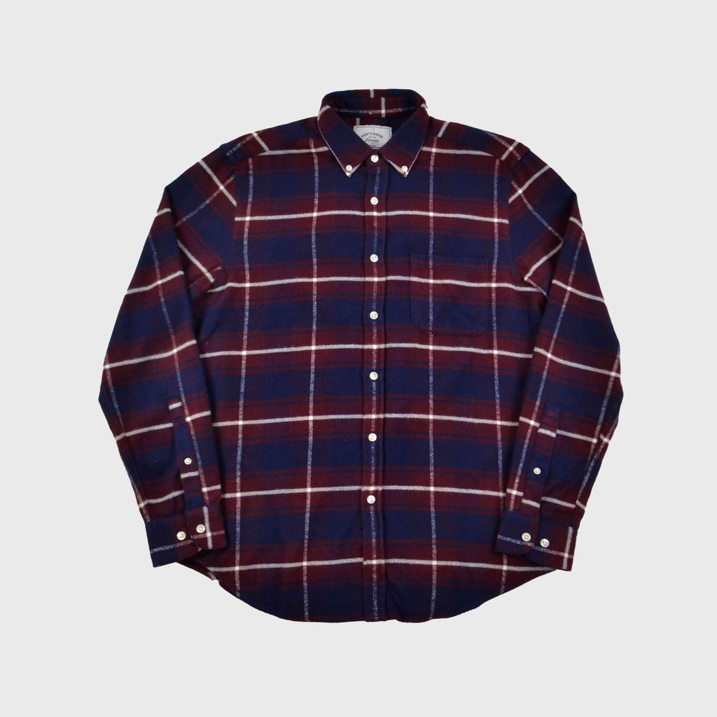 Portuguese Flannel Cruise Shirt - Merlot / Navy Check Front View