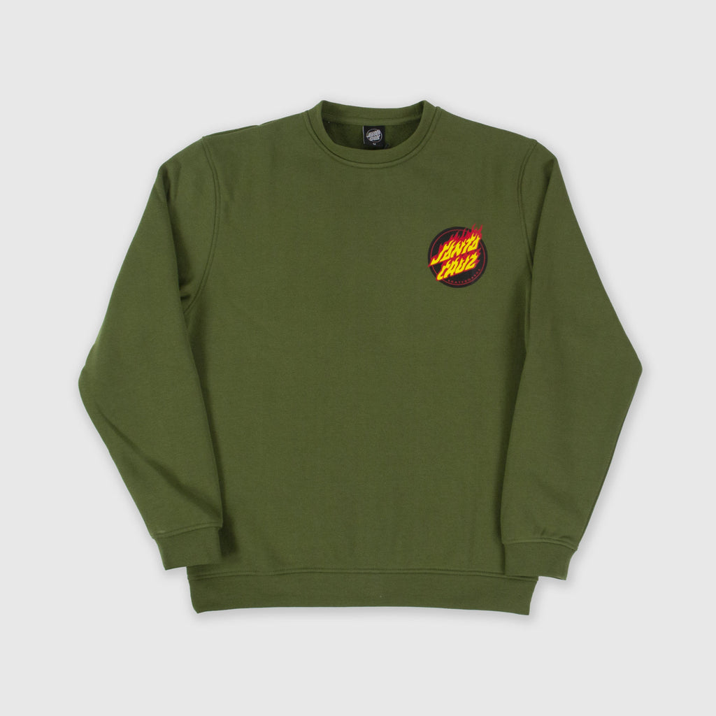 Santa Cruz Flaming Japanese Dot Crew - Army Green Front