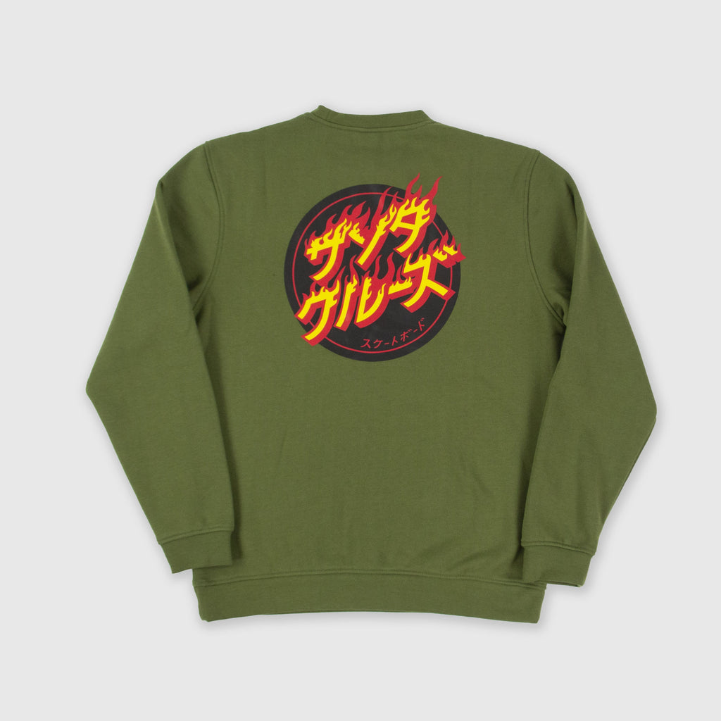 Santa Cruz Flaming Japanese Dot Crew - Army Green Back
