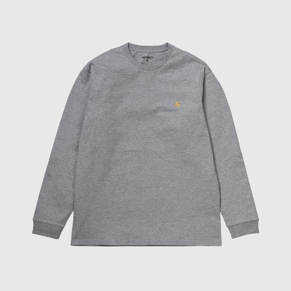 Carhartt WIP LS Chase Tee - Grey Heather / Gold Front