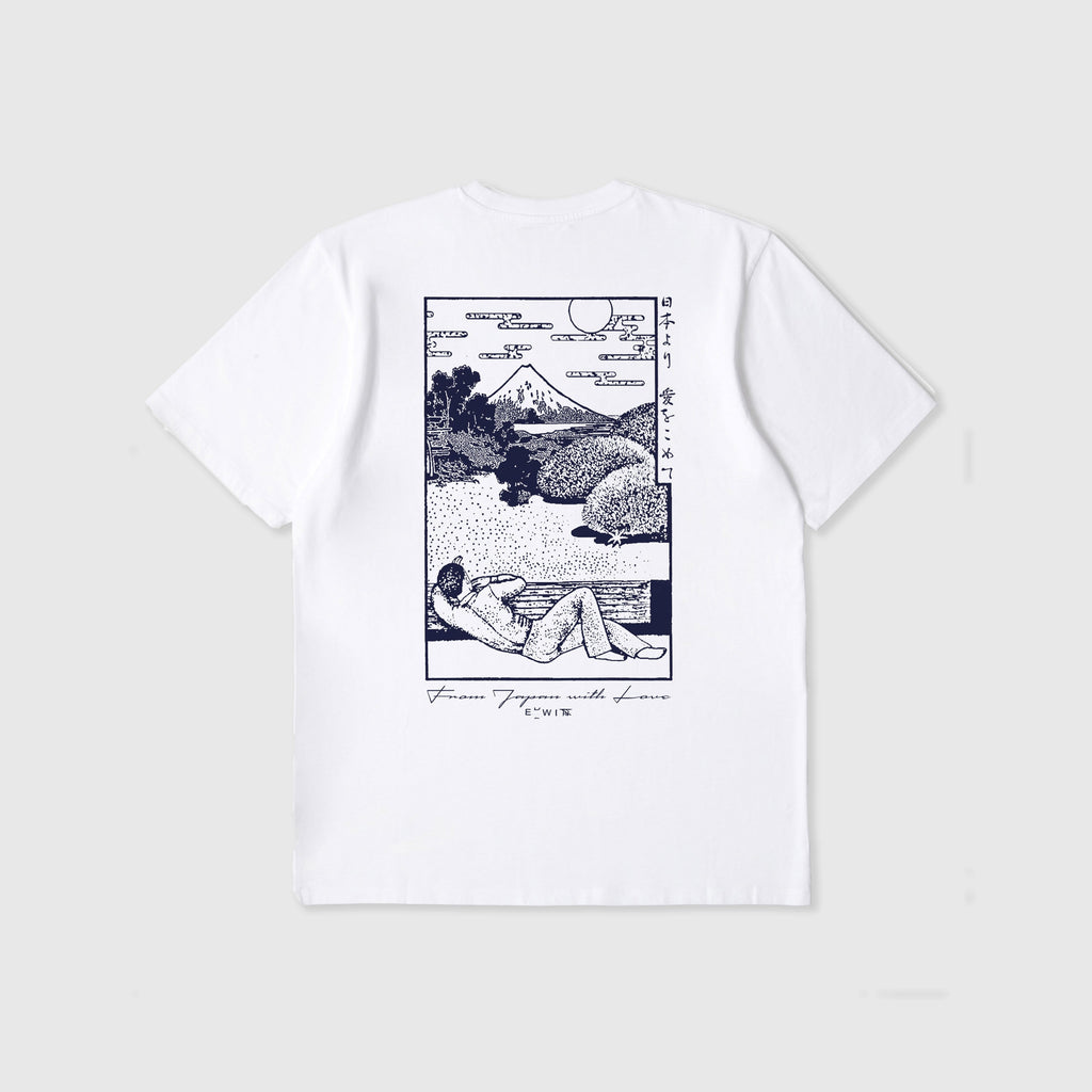 Edwin SS Fuji Scenery Tee - White Garment Washed Back