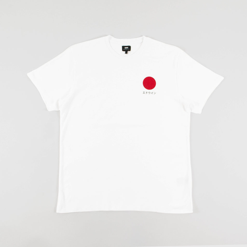 Edwin SS Japanese Sun - White Garment Washed Front View