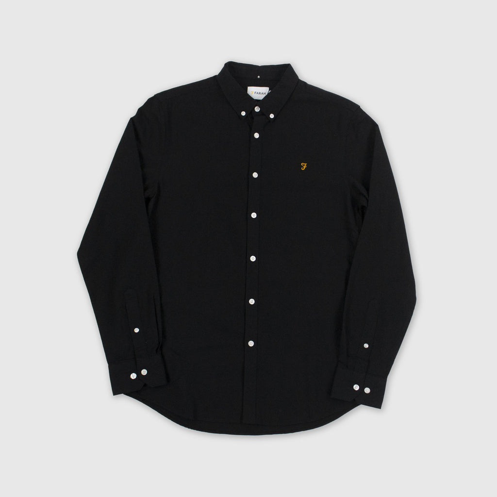 Farah LS Brewer Slim Shirt - Black Front