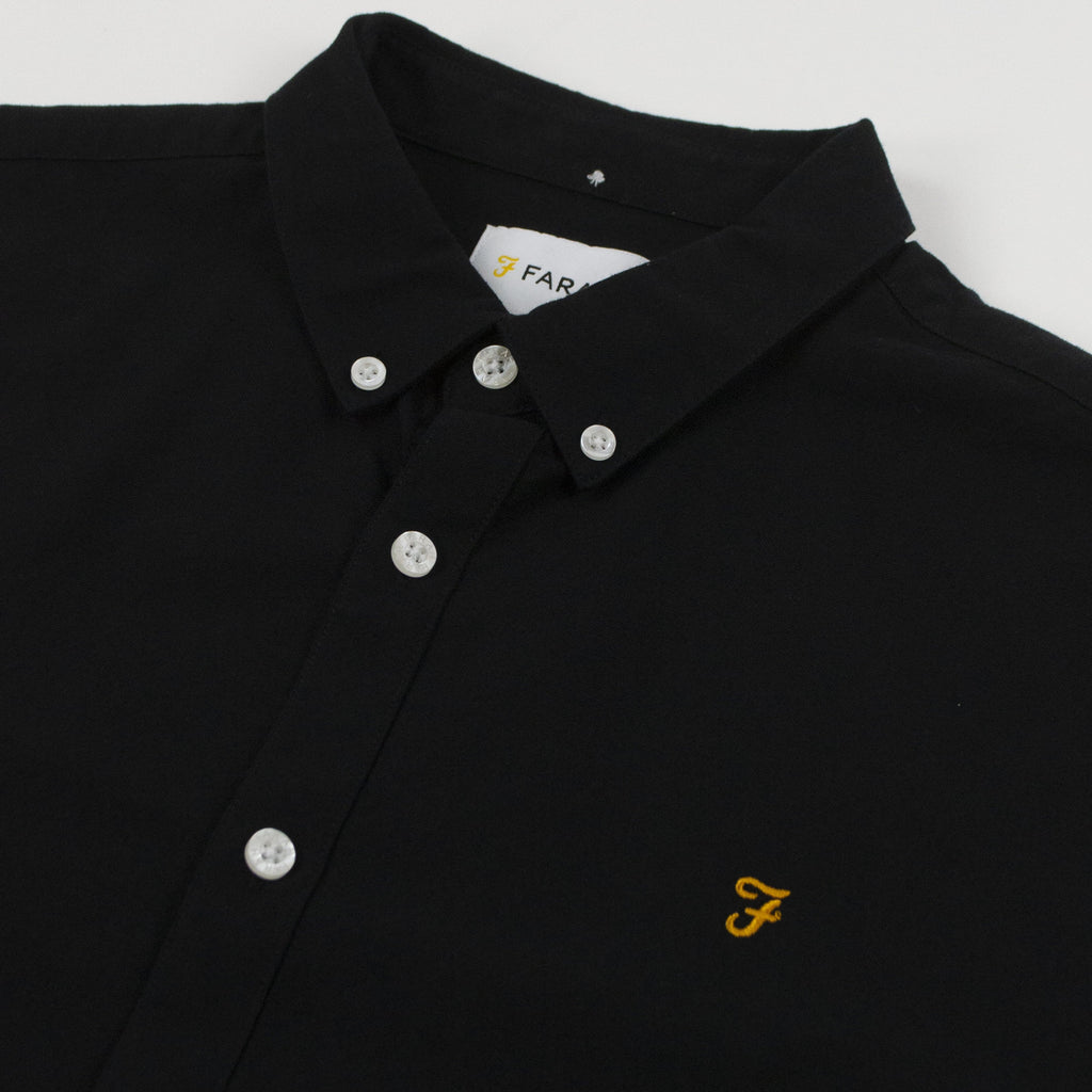 Farah LS Brewer Slim Shirt - Black Collar