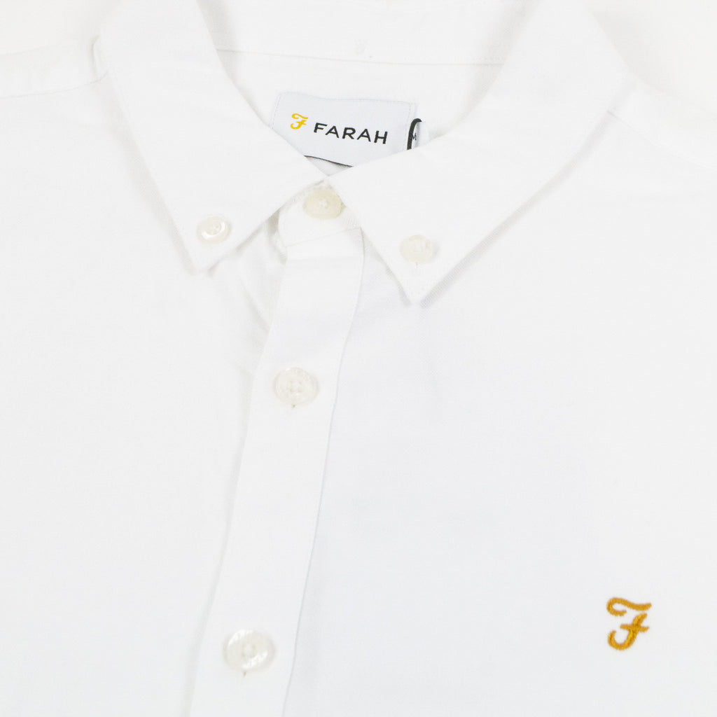 Farah LS Brewer Slim Shirt - White Collar