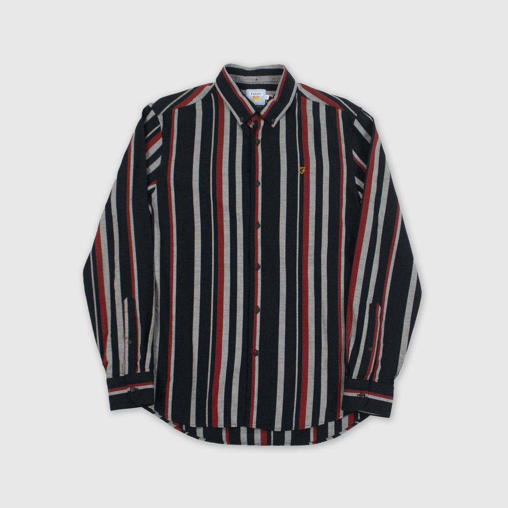Farah LS Mcpherson Stripe Shirt - True Navy Marl Front