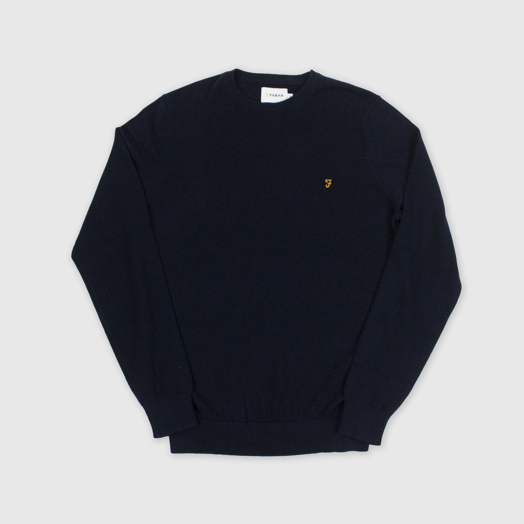 Farah Mullen Cotton Sweater - True Navy Front