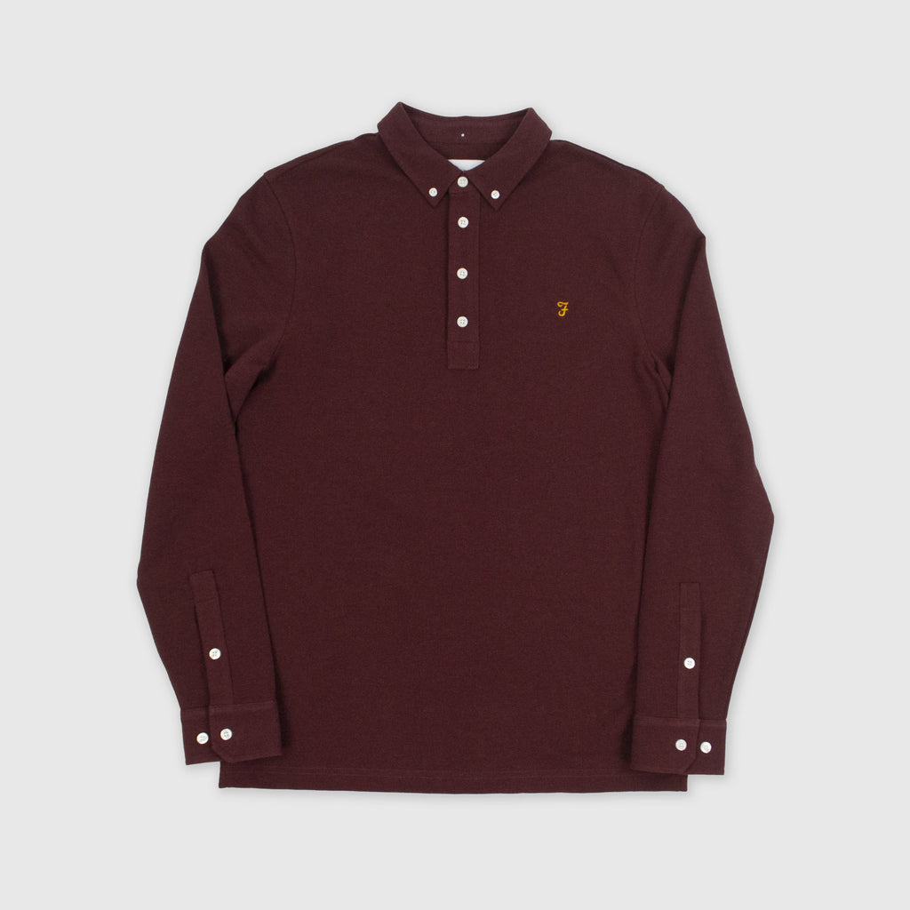 Farah LS Ricky Polo - Farah Red Marl Front