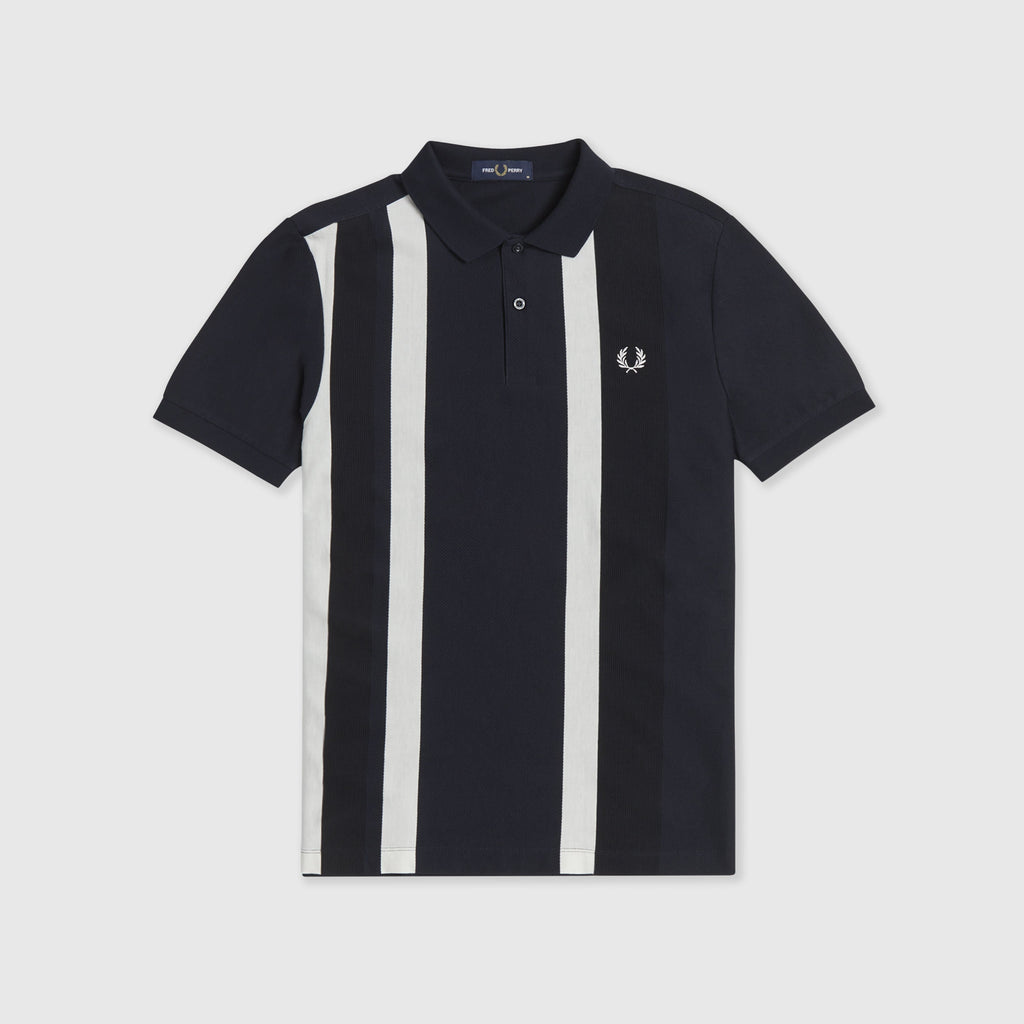 Fred Perry SS Striped Pique Polo Shirt - Navy Front