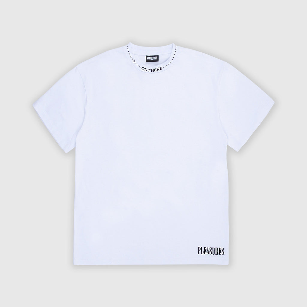 Pleasures SS Cut Here Heavyweight Tee - White Front